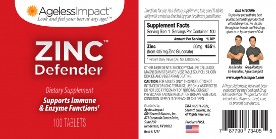 Ageless Impact Zinc Defender Revised