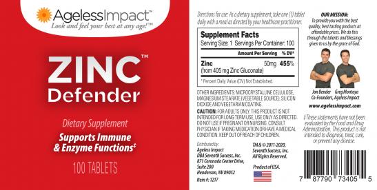 Ageless Impact Zinc Defender Full Label