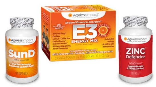 Ageless Impact Personal Protection Bundle E3 Energy Drink SunD Zinc Defender