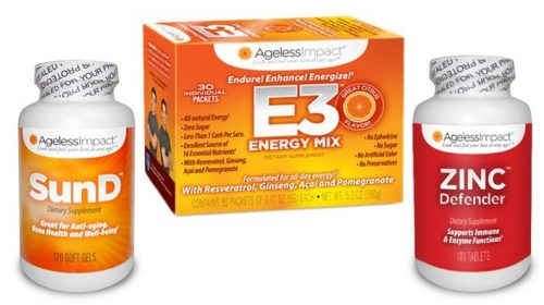 Ageless Impact Personal Protection Bundle E3 Energy Drink SunD Zinc Defender