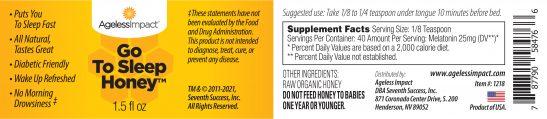 Ageless Impact Go To Sleep Honey Label